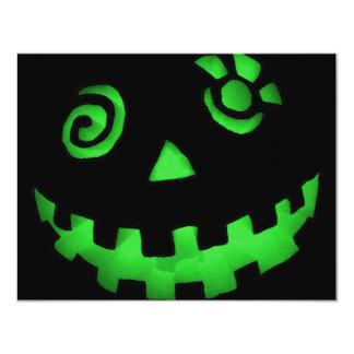 Crazy Jack O Lantern Pumpkin Face Green Invitation