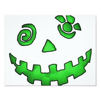 Crazy Jack O Lantern Pumpkin Face Green Personalized Invite