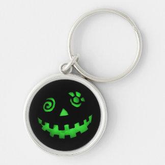 Crazy Jack O Lantern Pumpkin Face Green Silver-Colored Round Key Ring