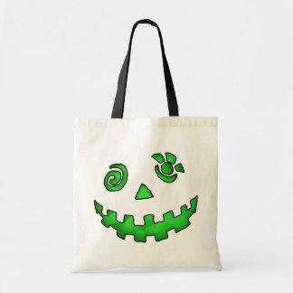 Crazy Jack O Lantern Pumpkin Face Green Budget Tote Bag