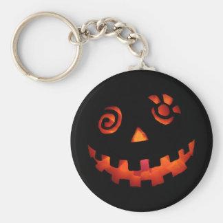 Crazy Jack O Lantern Pumpkin Face Orange Basic Round Button Key Ring