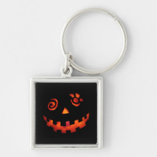 Crazy Jack O Lantern Pumpkin Face Orange Silver-Colored Square Key Ring