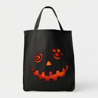 Crazy Jack O Lantern Pumpkin Face Orange Grocery Tote Bag
