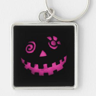 Crazy Jack O Lantern Pumpkin Face Pink Silver-Colored Square Key Ring
