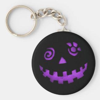 Crazy Jack O Lantern Pumpkin Face Purple Basic Round Button Key Ring