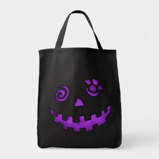 Crazy Jack O Lantern Pumpkin Face Purple Grocery Tote Bag