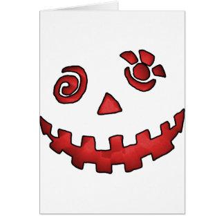 Crazy Jack O Lantern Pumpkin Face Red Greeting Card