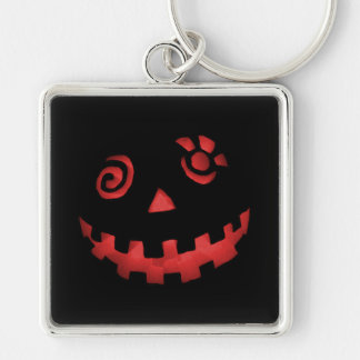 Crazy Jack O Lantern Pumpkin Face Red Silver-Colored Square Key Ring
