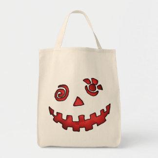 Crazy Jack O Lantern Pumpkin Face Red Grocery Tote Bag