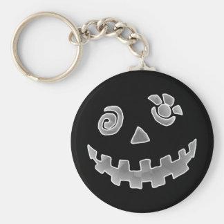 Crazy Jack O Lantern Pumpkin Face White Gray Keychains