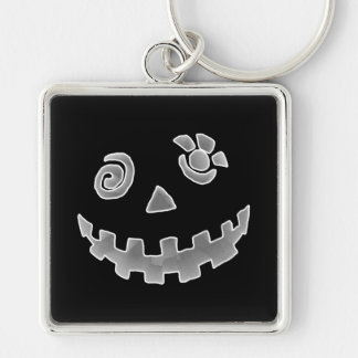 Crazy Jack O Lantern Pumpkin Face White Gray Silver-Colored Square Key Ring