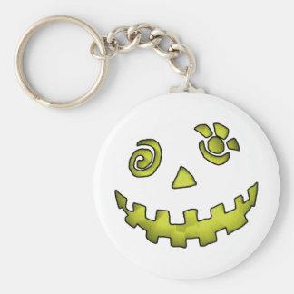 Crazy Jack O Lantern Pumpkin Face Yellow Basic Round Button Key Ring