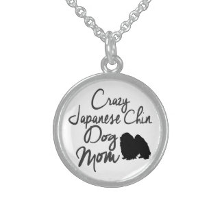 Crazy Japanese Chin Dog Mom Sterling Silver Necklace