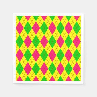 Crazy Kids Colors, Argyle 6-PAPER PARTY NAPKINS Disposable Napkins