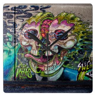 Crazy Kind Of Horror Skull Graffiti Clock