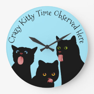 Crazy Kitty Time Cat Clock