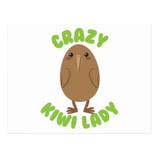 crazy kiwi lady circle postcard
