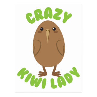crazy kiwi lady circle postcard