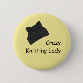 Crazy Knitting Lady Badge