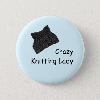 Crazy Knitting Lady Badge