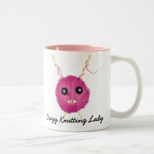 Crazy Knitting Lady Coffee Mugs