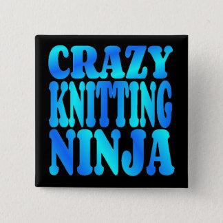 Crazy Knitting Ninja 15 Cm Square Badge