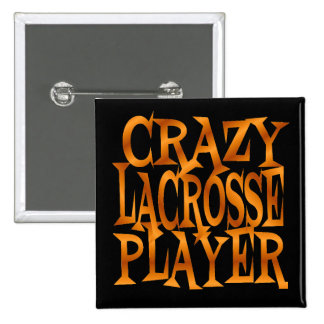 Crazy Lacrosse Player in Gold 15 Cm Square Badge