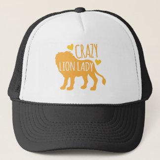 crazy lion lady trucker hat