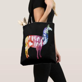 Crazy Llama Lady. Funny Saying. Watercolor Art Tote Bag