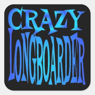 Crazy Longboarder Square Sticker