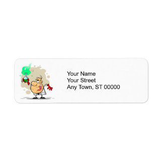 crazy mad scientist cartoon return address label