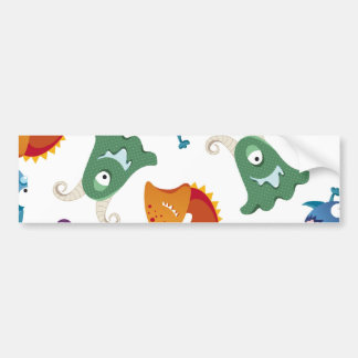 Crazy Monsters Fun Colorful Patterns for Kids Bumper Sticker