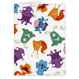 Crazy Monsters Fun Colorful Patterns for Kids Greeting Card