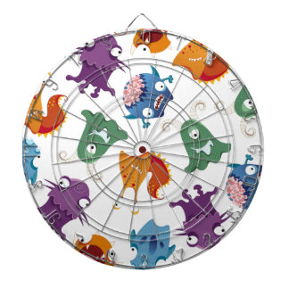 Crazy Monsters Fun Colorful Patterns for Kids Dartboard With Darts