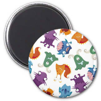 Crazy Monsters Fun Colorful Patterns for Kids 6 Cm Round Magnet