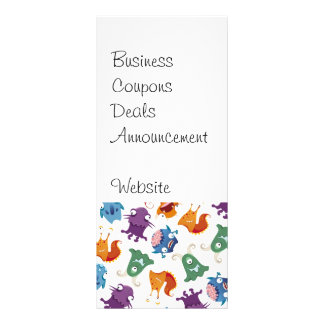 Crazy Monsters Fun Colorful Patterns for Kids Personalised Rack Card