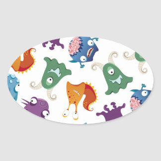 Crazy Monsters Fun Colourful Patterns for Kids Oval Sticker