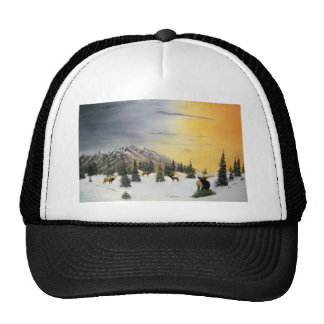 Crazy Mountain sun set Hats