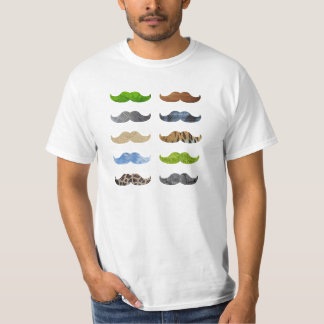 Crazy Moustache Pattern T-shirt