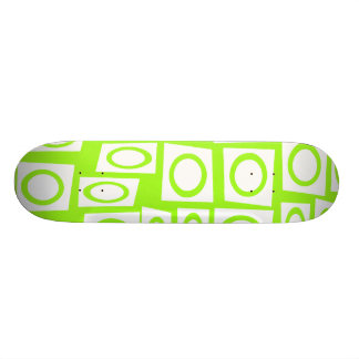 Crazy Neon Lime Green Fun Circle Square Pattern Custom Skateboard
