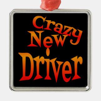 Crazy New Driver Caution Metal Ornament