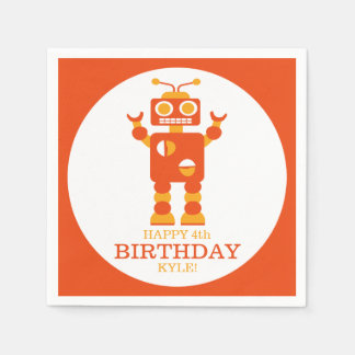 Crazy Orange Robot Personalized Birthday Party Paper Serviettes