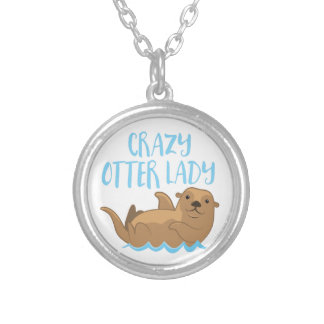 crazy otter lady cute! silver plated necklace