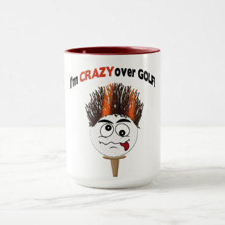 Crazy over Golf Mug - Funny Face on Golfball