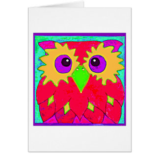 CRAZY OWL GREETING CARD 001