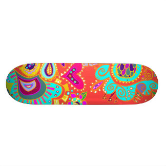 Crazy Paisley Doodle Orange/turquoise/yellow board Skate Deck