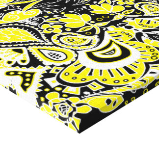Crazy Paisley Kaleidoscope Yellow & Black Canvas Print