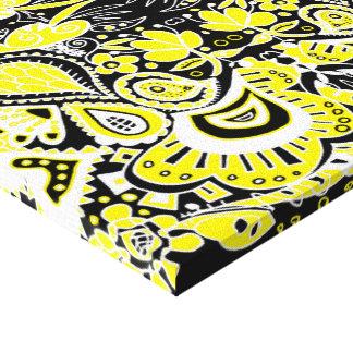 Crazy Paisley Kaleidoscope Yellow & Black Canvas Print