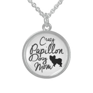 Crazy Papillon Dog Mom Sterling Silver Necklace