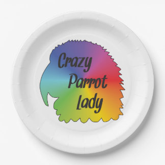 Crazy Parrot Lady 9 Inch Paper Plate